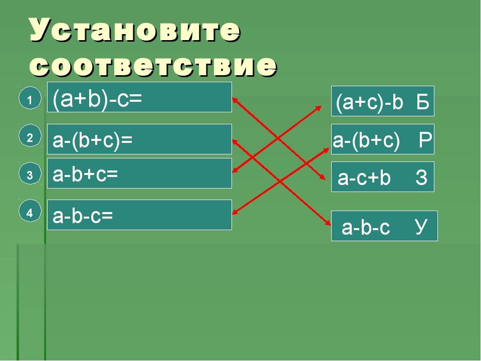 Установите соответствие 4 3 2 1 (a+b)-c= a-(b+c)= a-b+c= a-b-c= (a+c)-b Б a-b...