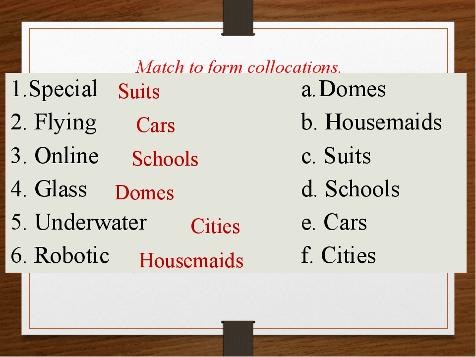 Match to form collocations. Suits Cars Schools Domes Cities Housemaids Speci...