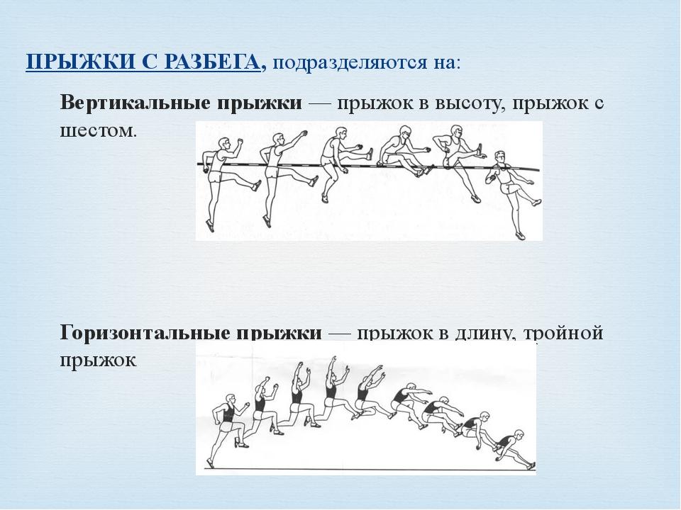ПРЫЖКИ С РАЗБЕГА,подразделяются на: Вертикальные прыжки— прыжок в высоту, п...