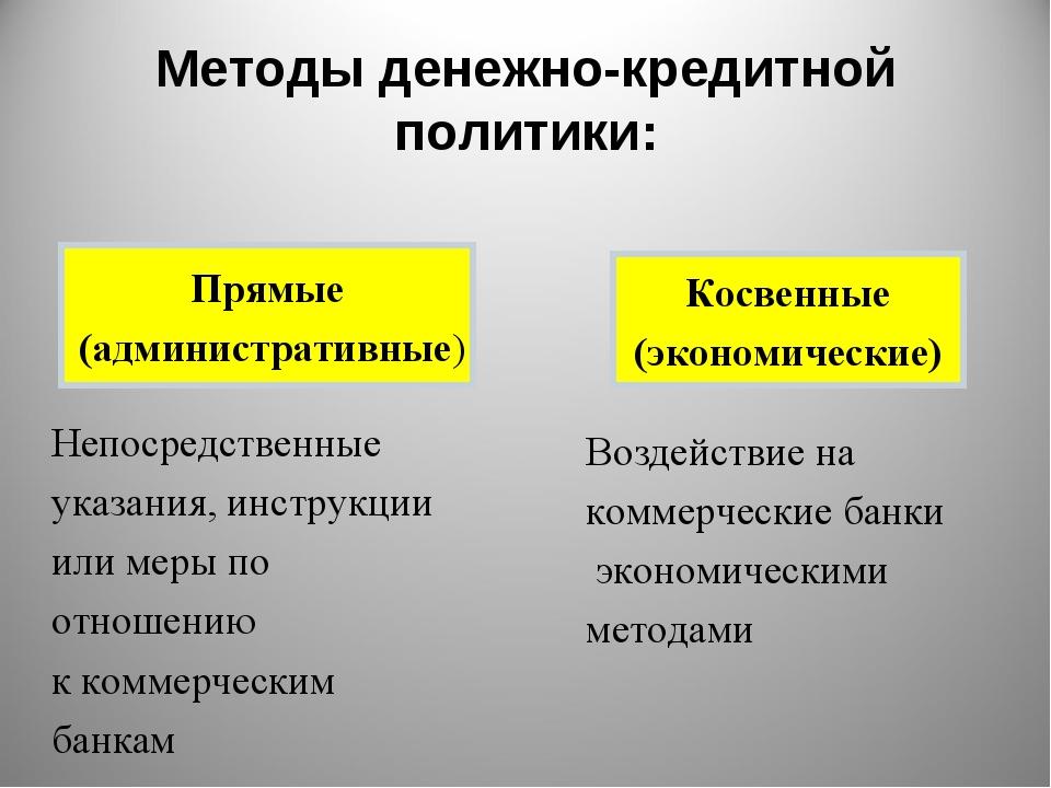 Прямые (административные) Косвенные (экономические) Методы денежно-кредитной...