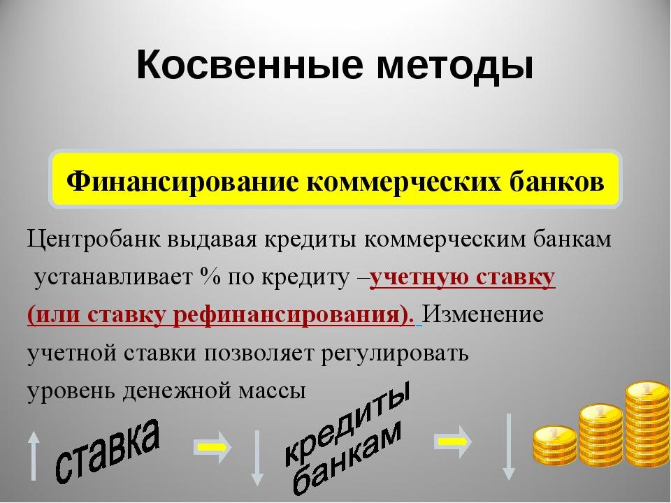 Косвенные методы Финансирование коммерческих банков Центробанк выдавая кредит...