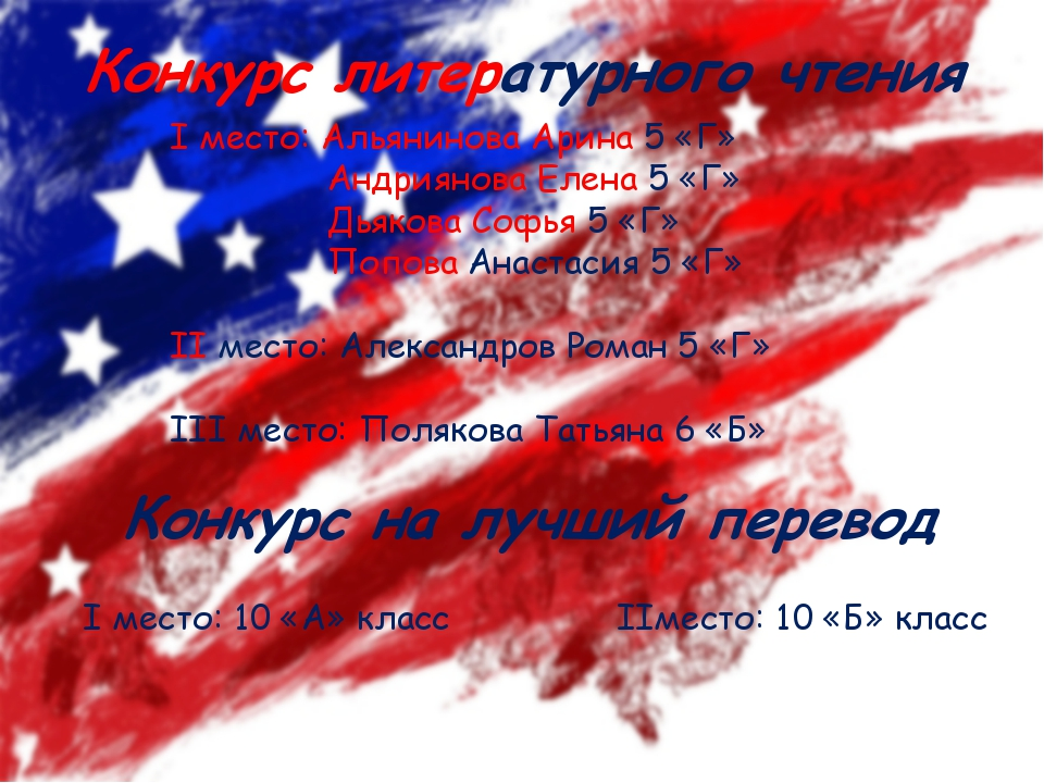 Конкурс литературного чтения I место: Альянинова Арина 5 «Г» Андриянова Елена...