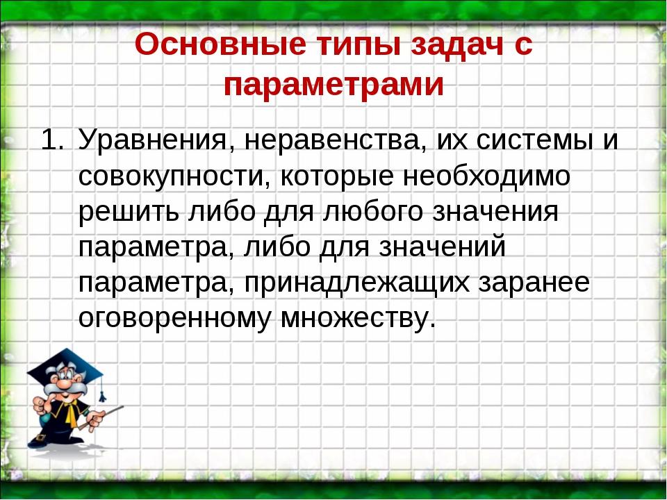 Основные типы задач с параметрами Уравнения, неравенства, их системы и совоку...