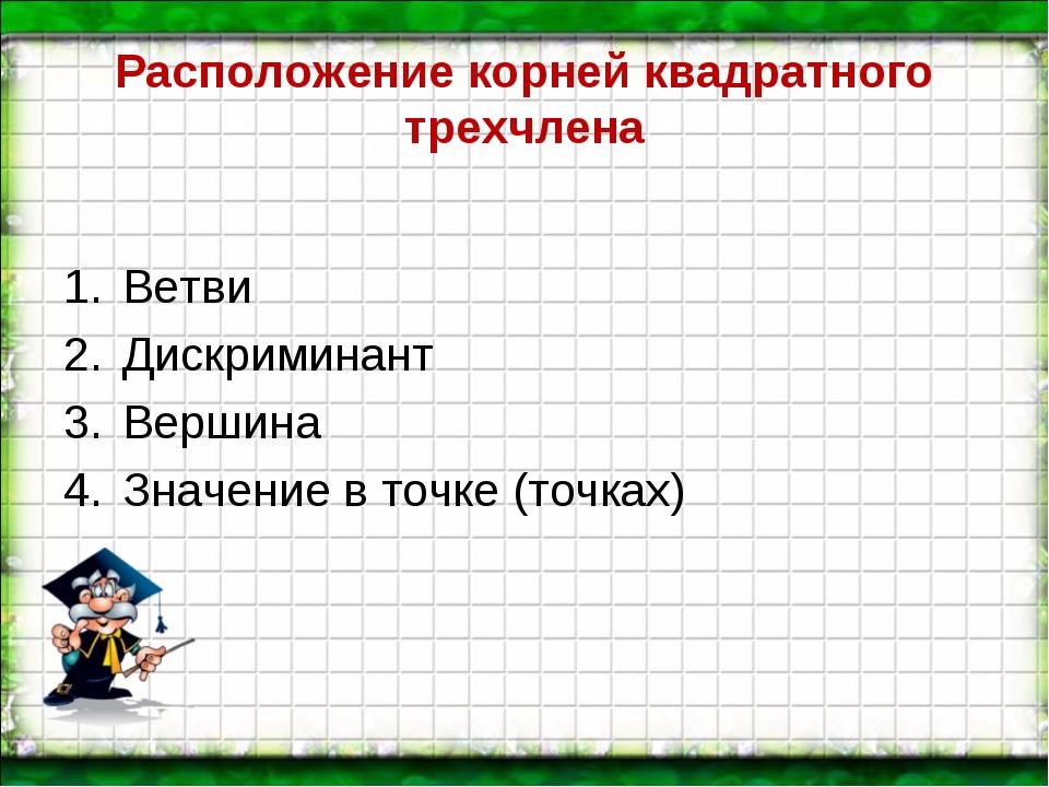 Расположение корней квадратного трехчлена Ветви Дискриминант Вершина Значение...