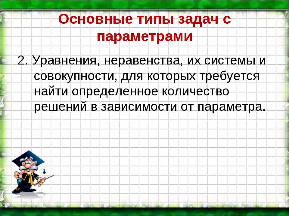 Основные типы задач с параметрами 2. Уравнения, неравенства, их системы и сов...