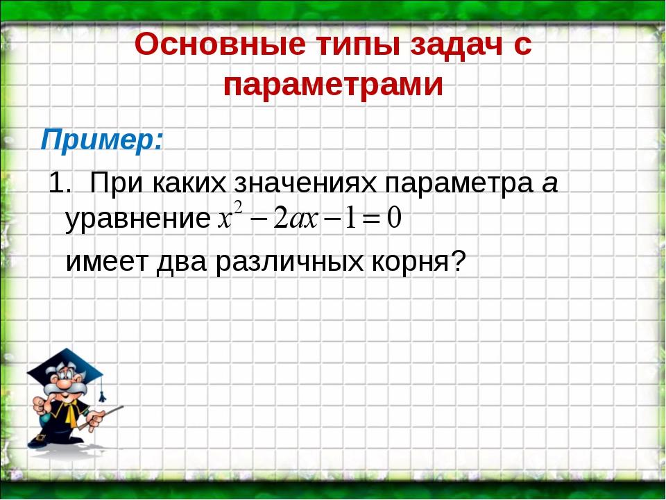 Основные типы задач с параметрами Пример: 1. При каких значениях параметра а...