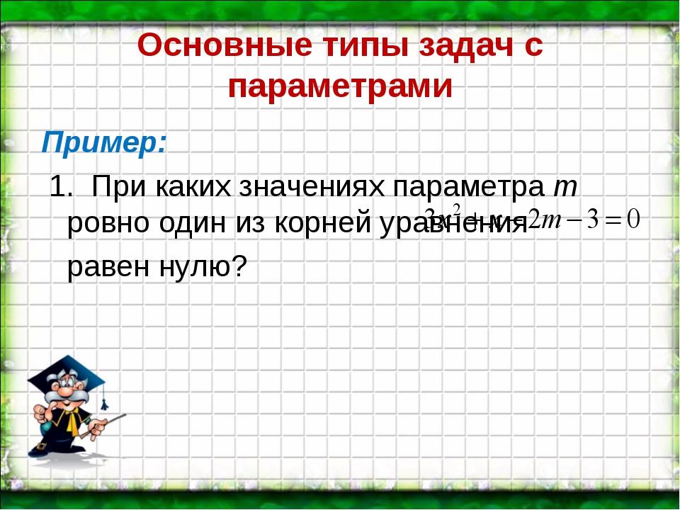 Основные типы задач с параметрами Пример: 1. При каких значениях параметра m...