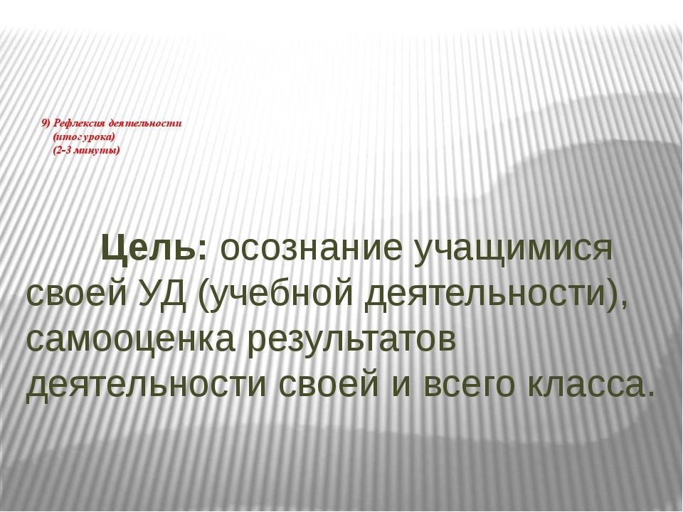 9) Рефлексия деятельности (итог урока) (2-3 минуты) Цель: осознание учащимися...
