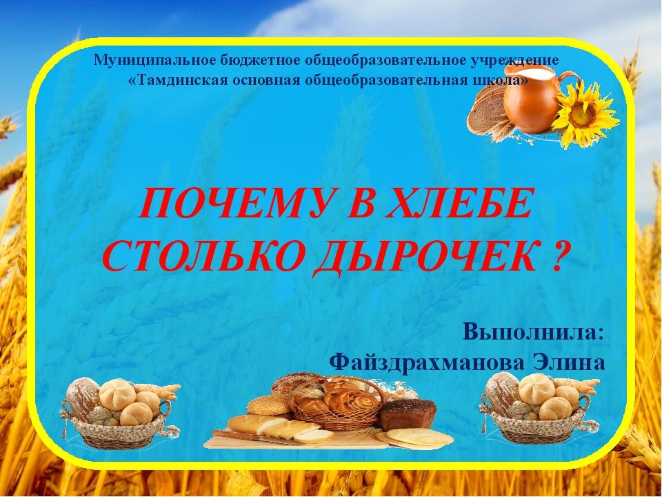 Муниципальное бюджетное общеобразовательное учреждение «Тамдинская основная о...