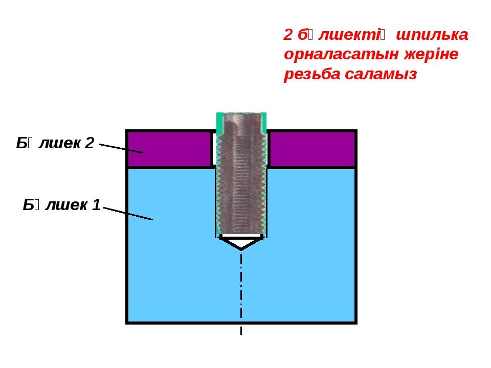 Бөлшек 1 Бөлшек 2 2 бөлшектің шпилька орналасатын жеріне резьба саламыз