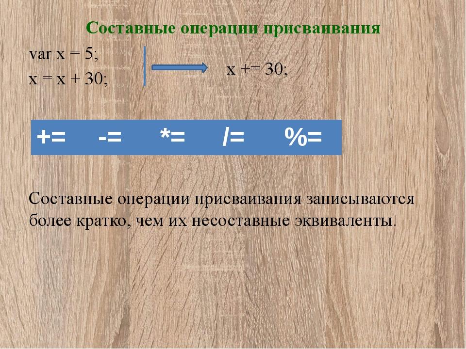 Составные операции присваивания var x = 5; x = x + 30;  x += 30; Составны...