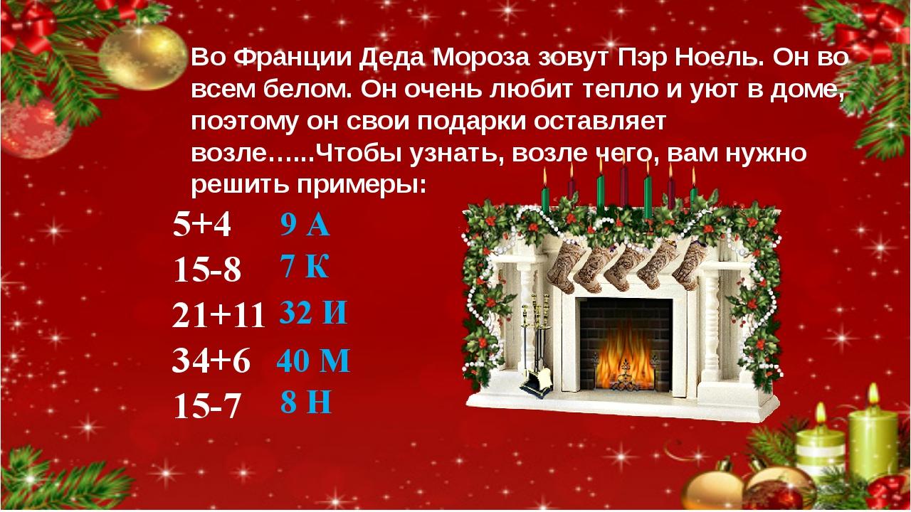 Во Франции Деда Мороза зовут Пэр Ноель. Он во всем белом. Он очень любит тепл...