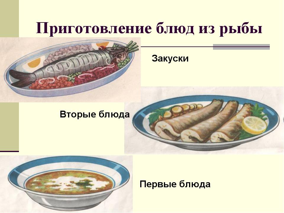 Приготовление блюд из рыбы Закуски Вторые блюда Первые блюда