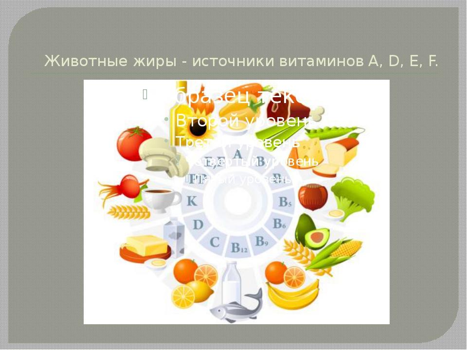 Животные жиры - источники витаминов A, D, Е, F.