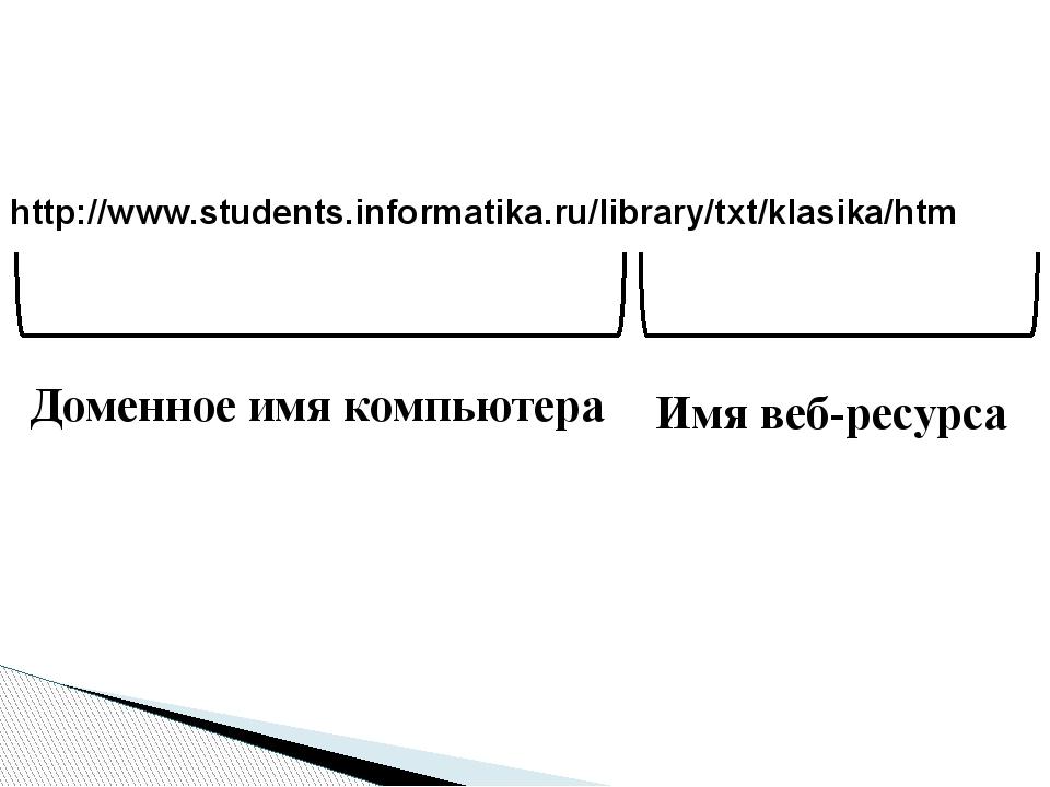 http://www.students.informatika.ru/library/txt/klasika/htm Доменное имя компь...