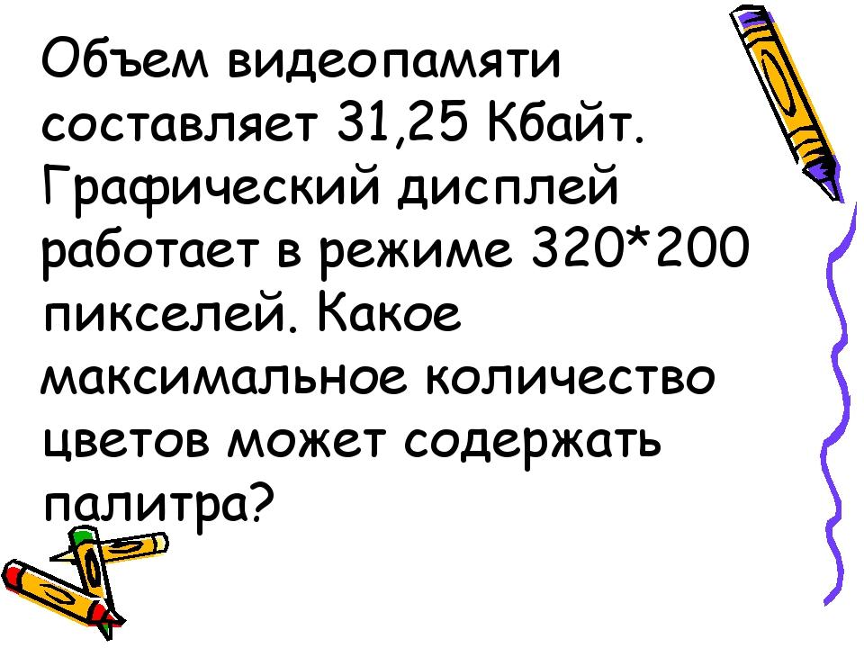 Объем видеопамяти составляет 31,25 Кбайт. Графический дисплей работает в режи...