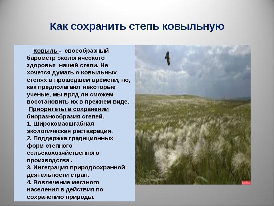 Как сохранить степь ковыльную Ковыль - своеобразный барометр экологического з...