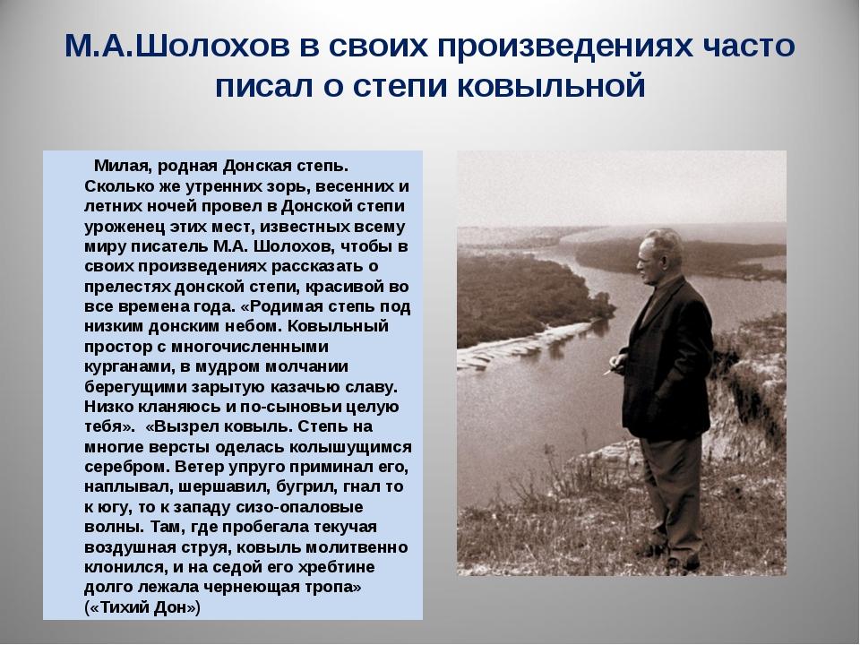 М.А.Шолохов в своих произведениях часто писал о степи ковыльной Милая, родная...