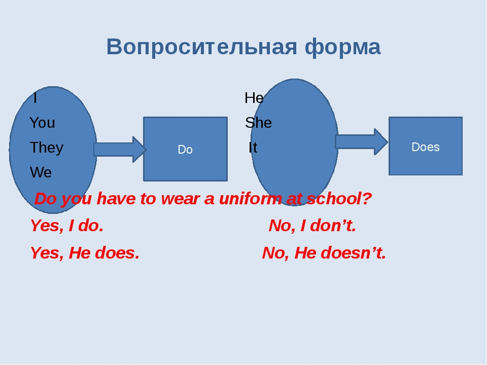 Does Do Вопросительная форма I He You She They It We Do you have to wear a u...
