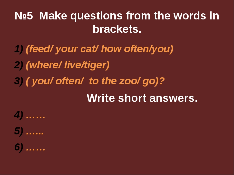 №5 Make questions from the words in brackets. (feed/ your cat/ how often/you)...