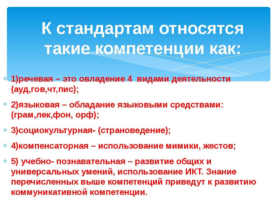 1)речевая – это овладение 4 видами деятельности (ауд,гов,чт,пис); 2)языковая...