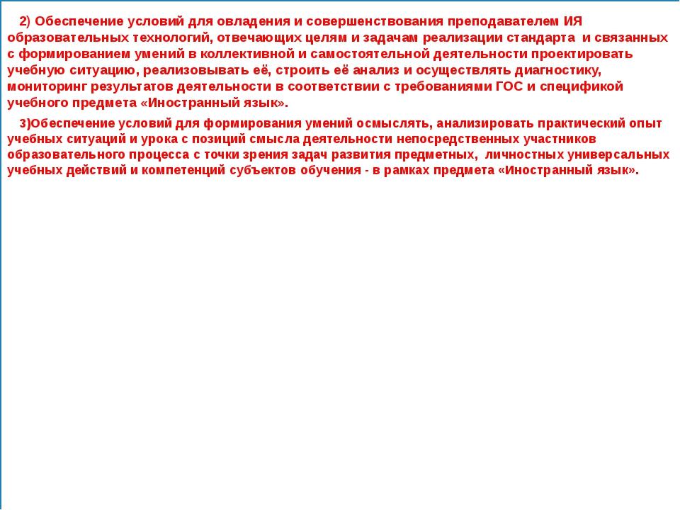 2) Обеспечение условий для овладения и совершенствования преподавателем И...
