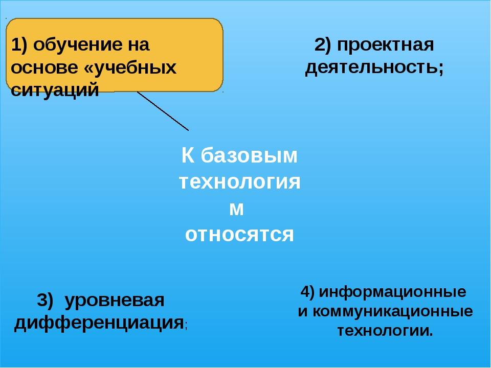 1) обучение на основе «учебных ситуаций 2) проектная деятельность; 3) уровне...
