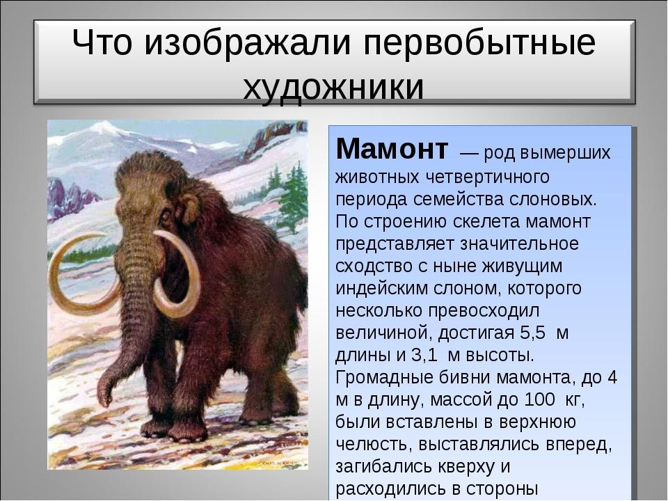 Мамонт — род вымерших животных четвертичного периода семейства слоновых. По с...