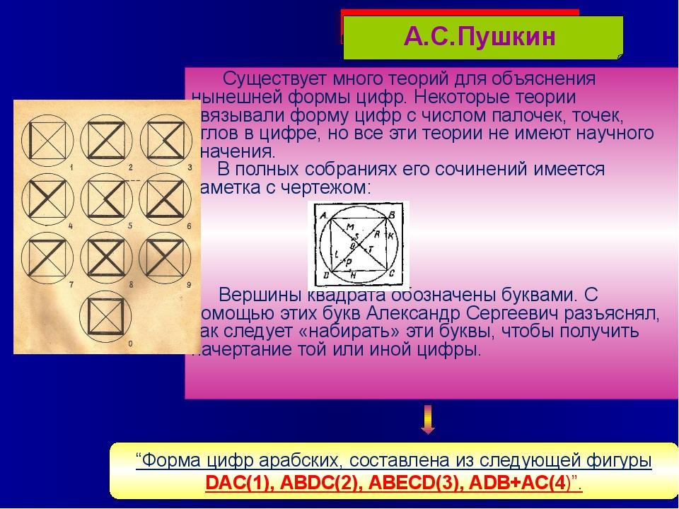 Существует много теорий для объяснения нынешней формы цифр. Некоторые теории...