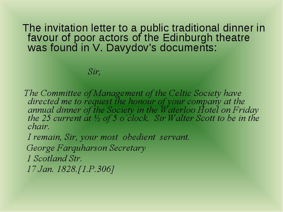 The invitation letter to a public traditional dinner in favour of poor actor...