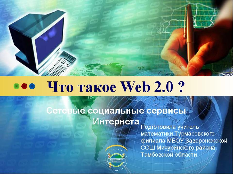 Что такое Web 2.0 ? Сетевые социальные сервисы Интернета Подготовила учитель...