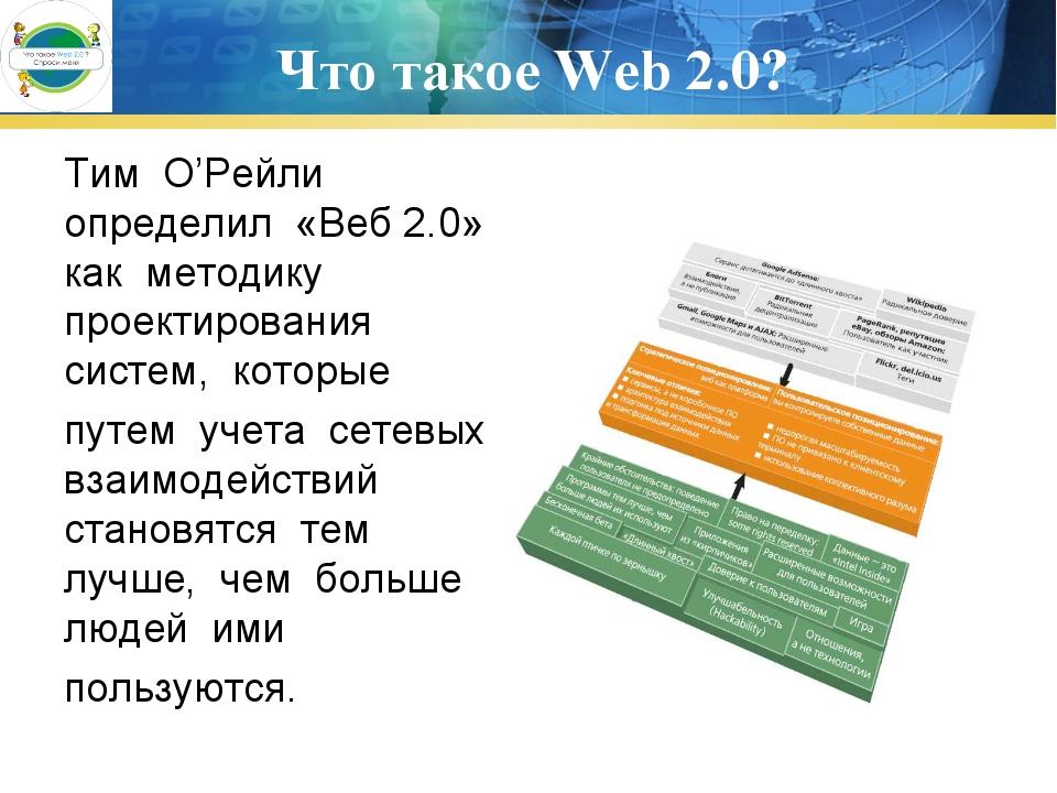 Что такое Web 2.0? Тим О'Рейли определил «Веб 2.0» как методику проектировани...