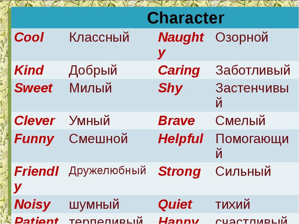 Character Cool Классный Naughty Озорной Kind Добрый Caring Заботливый Sweet М...