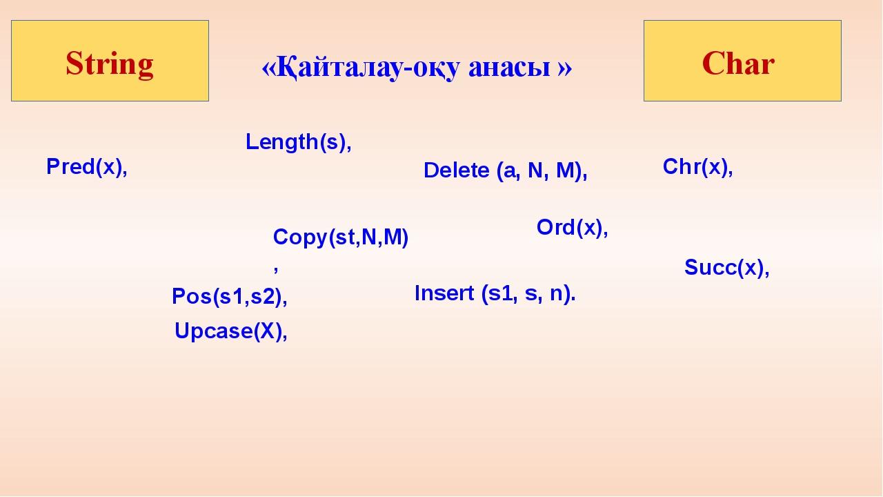 «Қайталау-оқу анасы » Ord(x), Pred(x), Succ(x), Upcase(X), Length(s), Pos(s1...