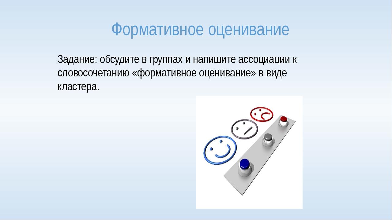Формативное оценивание Задание: обсудите в группах и напишите ассоциации к сл...