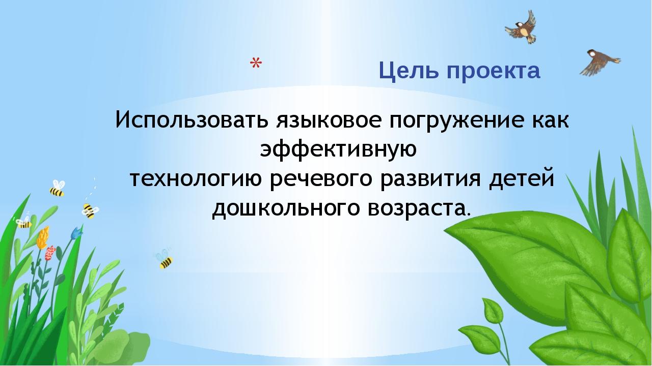 Цель проекта Использовать языковое погружение как эффективную технологию рече...