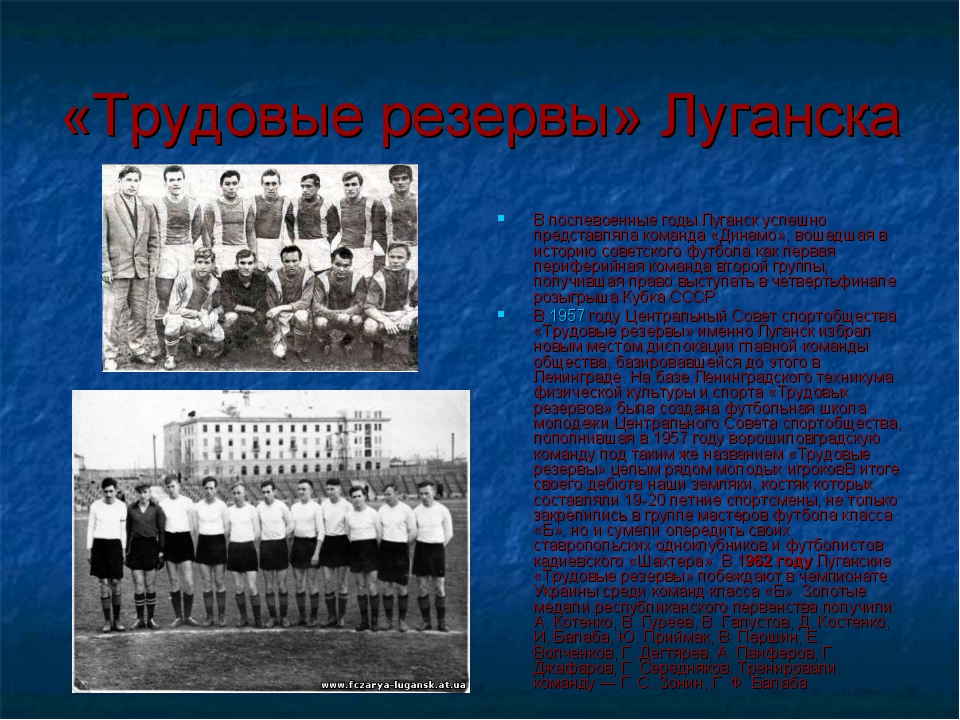 «Трудовые резервы» Луганска В послевоенные годы Луганск успешно представляла...