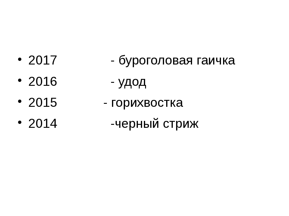 2017 - буроголовая гаичка 2016 - удод 2015 - горихвостка 2014 -черный стриж