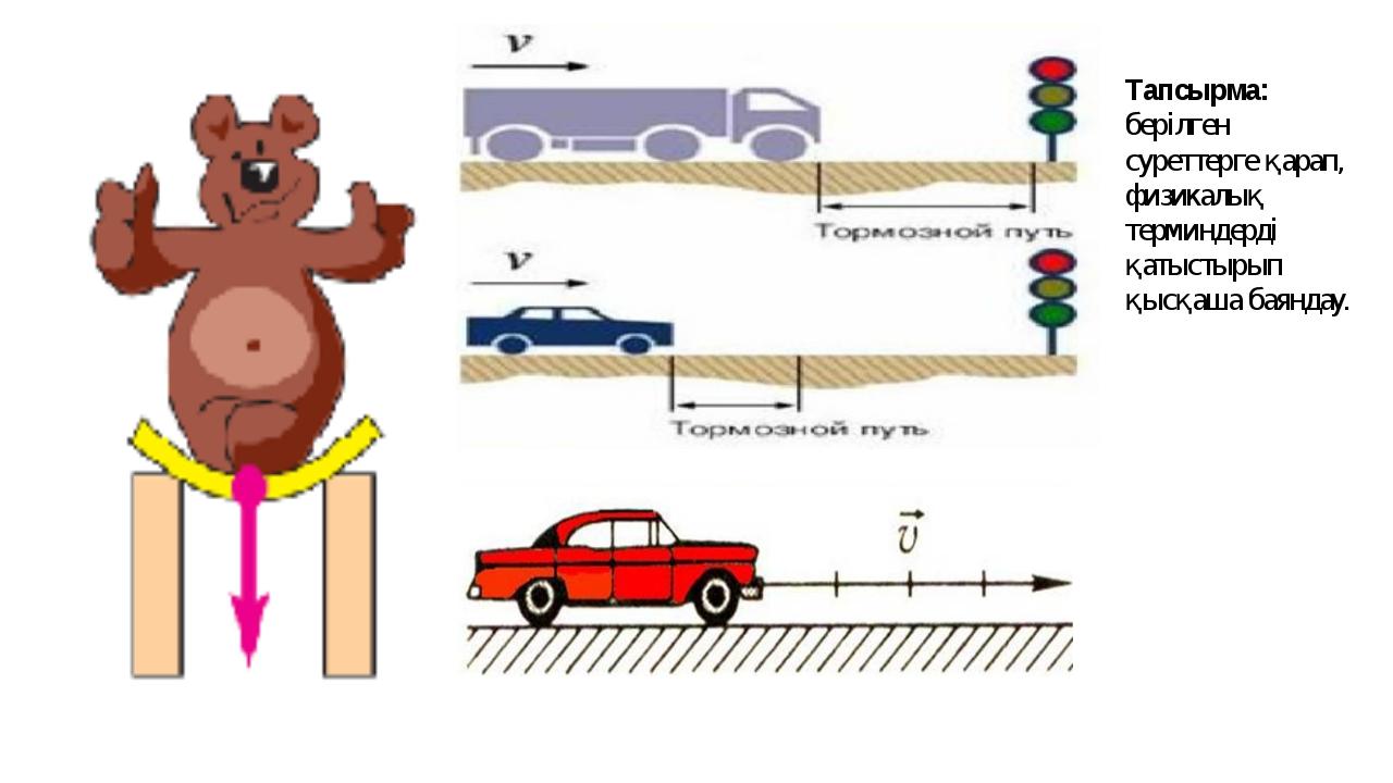 Тапсырма: берілген суреттерге қарап, физикалық терминдерді қатыстырып қысқаша...