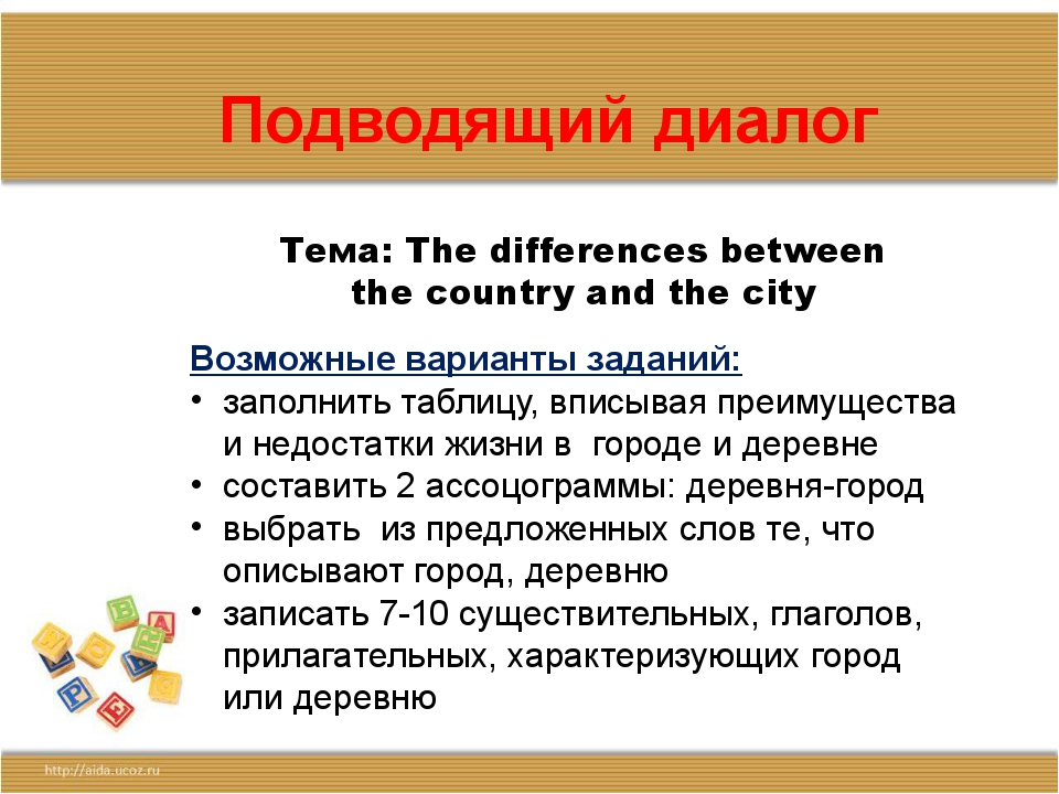 Подводящий диалог Тема: The differences between the country and the city Возм...