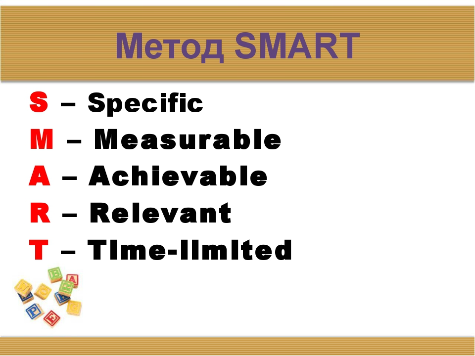 Метод SMART S – Specific M – Measurable A – Achievable R – Relevant T – Time-...