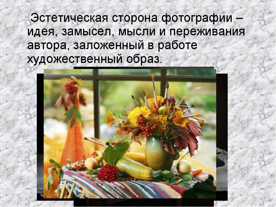 Эстетическая сторона фотографии – идея, замысел, мысли и переживания автора,...