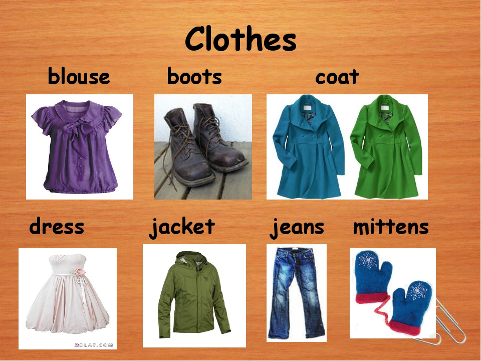 Clothes blouse boots coat dress jacket jeans mittens
