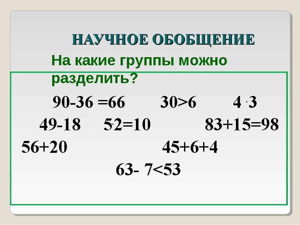 НАУЧНОЕ ОБОБЩЕНИЕ 90-36 =66 30>6 4 . 3 49-18 5.2=10 83+15=98 56+20...
