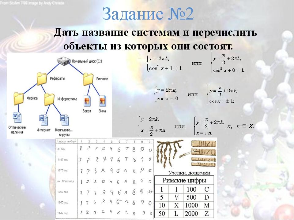 Задание №2 Дать название системам и перечислить объекты из которых они состоят.