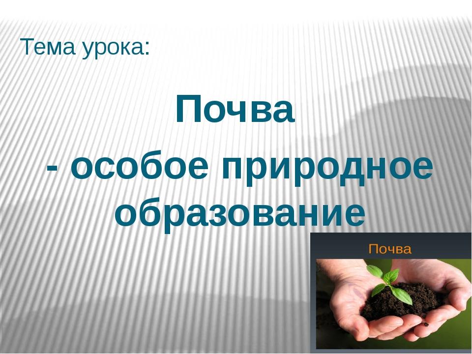 Тема урока: Почва - особое природное образование