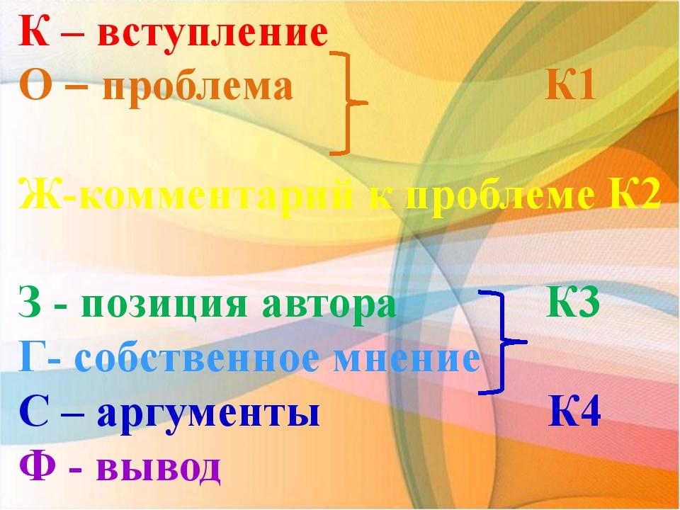 К – вступление О – проблема К1 Ж-комментарий к проблеме К2 З - позиция автора...