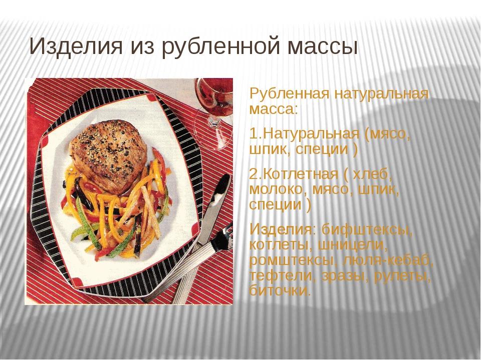 Изделия из рубленной массы Рубленная натуральная масса: 1.Натуральная (мясо,...