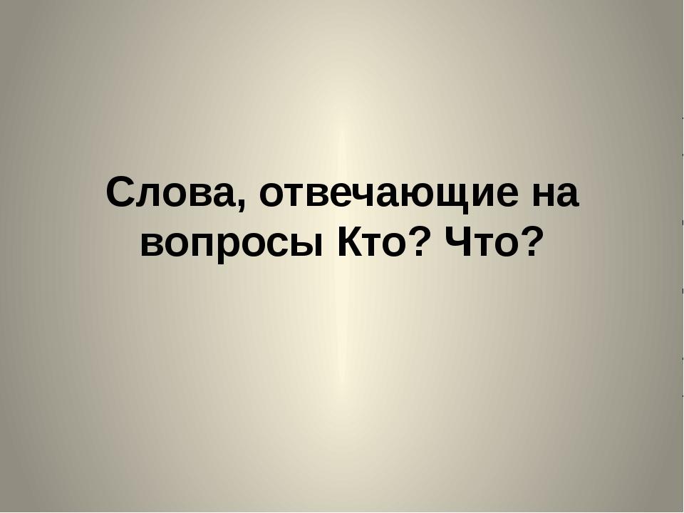 Слова, отвечающие на вопросы Кто? Что?