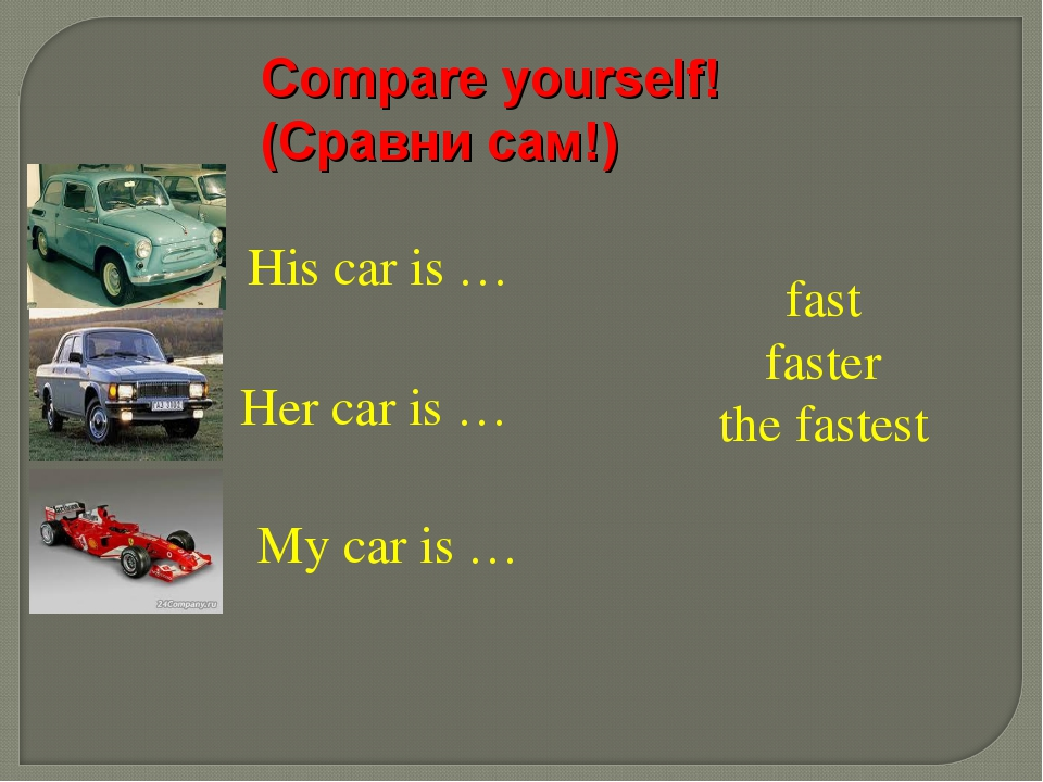 His car is … Her car is … My car is … fast faster the fastest Compare yoursel...